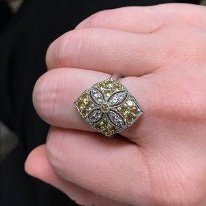 Jewelry - QVC KN 925 Sterling Yellow White CZ Size 7